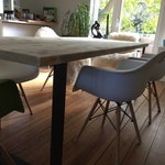 Dining Table Lumber With Flat Steel Stoves, oiled