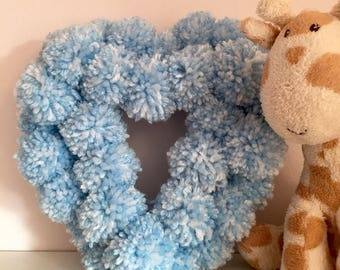Heart Pom Pom Wreath Baby Blue White