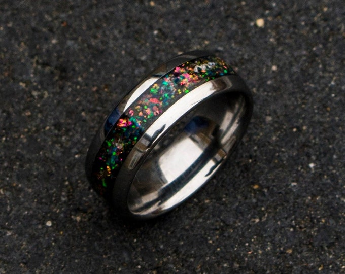 mens opal ring. Galaxy opal. Tungsten ring for men. opal ring. domed ring. wedding band men. ring with opal inlay