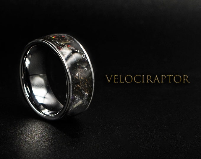 Human Dinosaur Bone Wedding Band with Velociraptor & black opal.