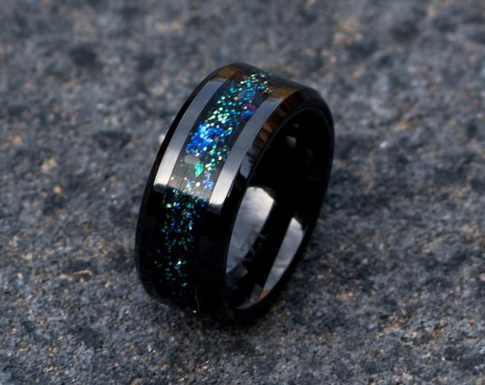 Galaxy opal ring with green zirconia. Black ceramic black tungsten ring black engagement ring wedding ring ceramics