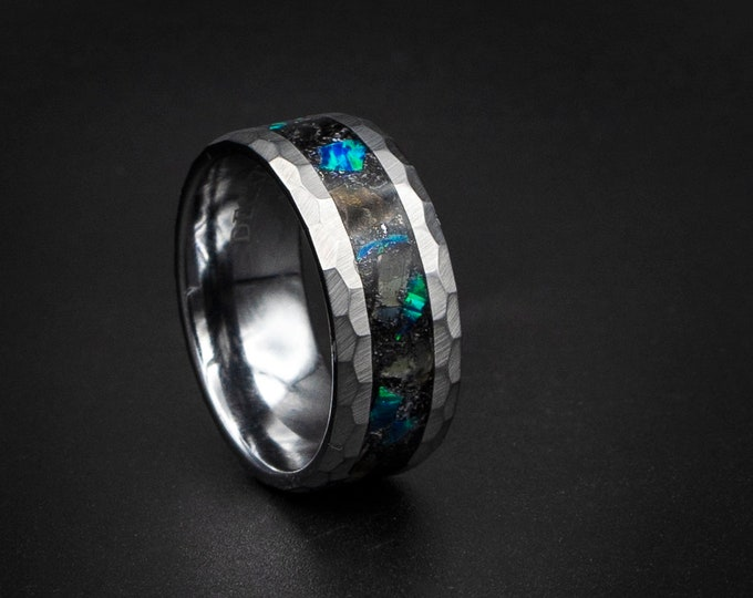 Tungsten ring with megalodon tooth inlay, dinosaur ring, unique human ring, Opal tungsten ring. Opal ring,