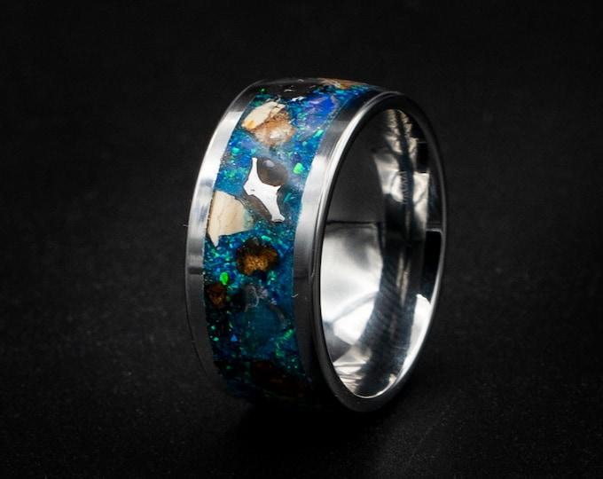 Human tungsten ring, human wedding band, T-rex, dinosaur bone ring, metoerite human ring, opal ring, meteorite ring men, wedding band man.