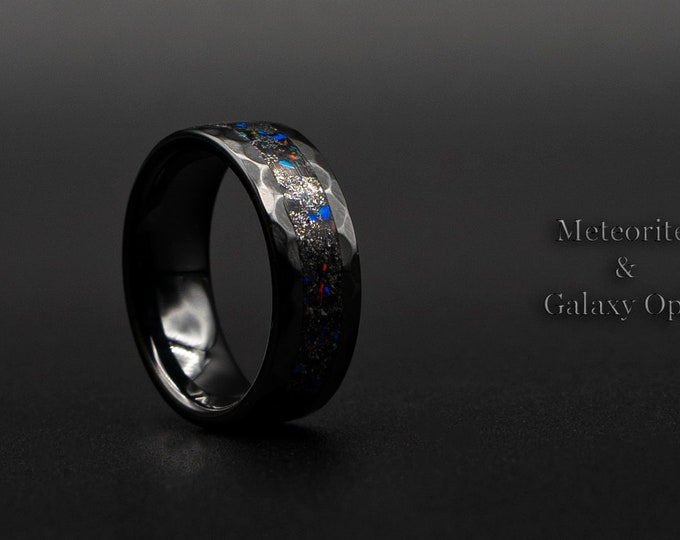 Galaxy opal ring, Black ceramic ring, galaxy ring jewelry, meteorite ring etsy, custom opal ring, hammered rings for men, mens opal ring.