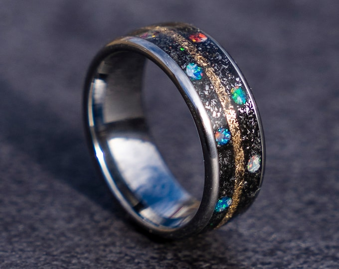 marvel infinity ring, Meteorite, mens opal, Lunar jewelry, Gold tungsten ring, opal engagement ring, mens wedding band, human ring, galaxy