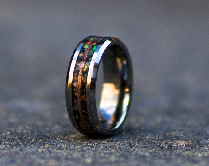 Moonstone Tungsten Ring with white opal and copper line.