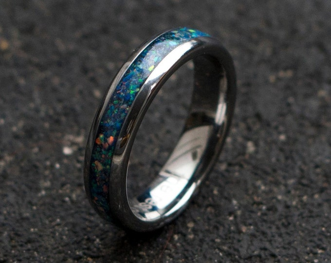 mens opal ring. Galaxy opal. Tungsten ring for men. meteorite opal ring. domed ring. wedding band men. ring with opal inlay 6mm
