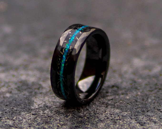 Black Hammerd ceramic ring, wedding, mens wedding band, opal ring, boyfriend gift, tungsten ring, meteorite, meteorite ring, ceramic ring.