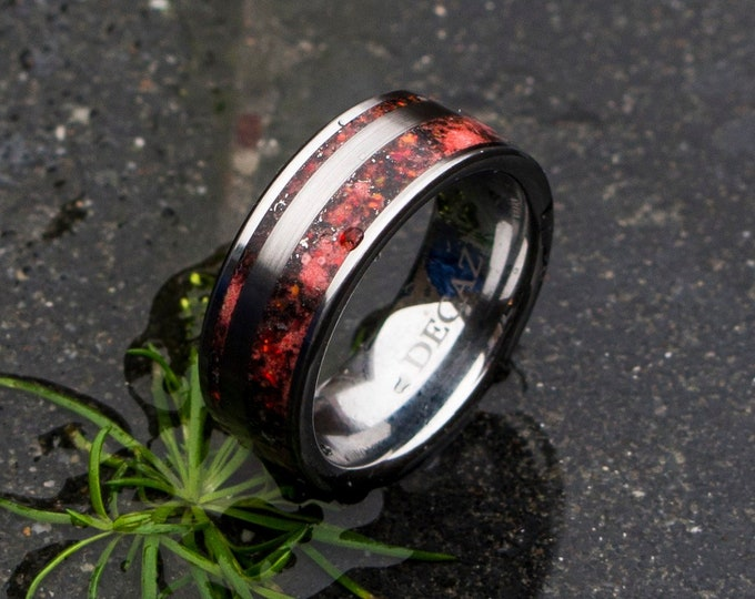 Red fire opal ring, opal engagement ring, opal wedding ring, meteorite ring men, tungsten ring women, simple elegant ring, glowstone ring.