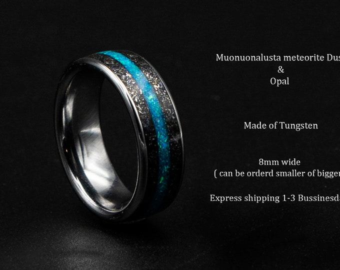 Meteorite opal ring, Tungsten mens ring, mens wedding band, opal engagement ring, wedding band mens, turquoise opal ring, gift for him,