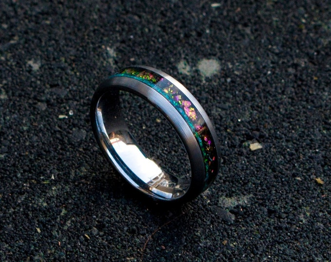 mens opal ring. Galaxy opal. Tungsten ring for men. meteorite opal ring. domed ring. wedding band men. ring with opal inlay