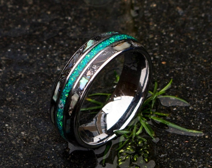 Triple Inlay Tungsten Ring, Meteorite Inlay, Opal Inlay, Abalone Shell Inlay, Unisex Wedding Band, Custom Wedding Ring