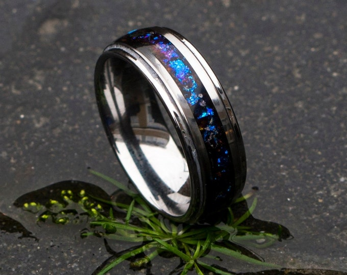 Tungsten ring for men. mens opal ring. Galaxy opal. male wedding ring. crushed opal ring. mens wedding ring. chameleon flakes.