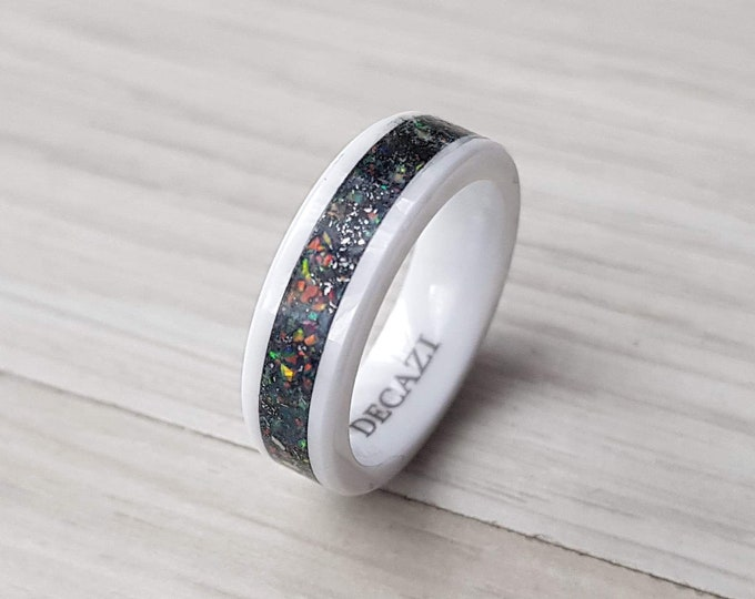 Meteorite. Mens wedding ring. Galaxy opal. White ceramic ring. Man opal ring. unique mens ring. Black ceramic ring, mens opal ring.