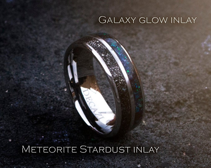 Double Inlay Tungsten Ring, Meteorite Inlay Wedding Band, Unisex Wedding Ring, Galaxy Wedding Band
