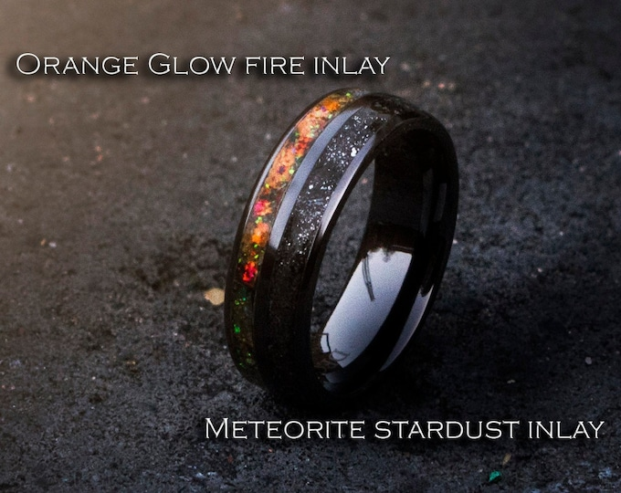 Black ceramic band with orange fire opal and meteorite