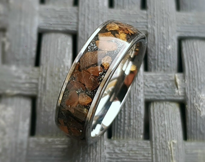 Tungsten Wedding Band Men Custom, Dinosaur Bone Meteorite Ring, Tungsten Wedding Ring Men, T Rex Wedding Band Opal, Tungsten Meteorite Ring