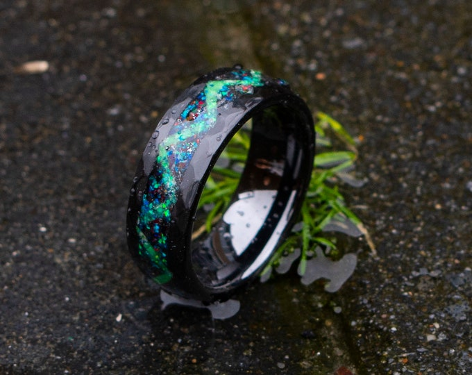 Black Hammerd ceramic ring, wedding, mens wedding band, opal ring, tungsten ring, meteorite, meteorite ring, ceramic ring.