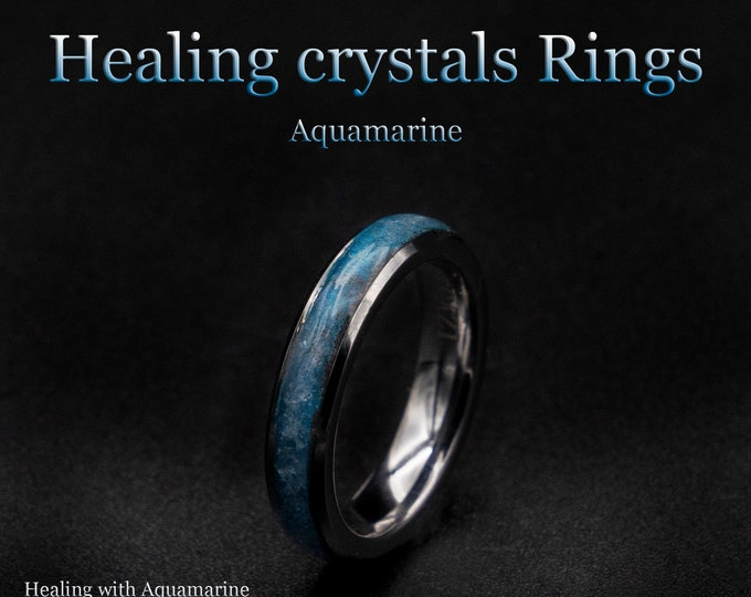 Aquamarine ring men, Healing crystal ring, Ringband, Healing crystals, Glowstone ring, Healing crystal jewelry, healing jewelry.