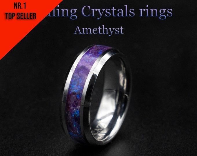 amethyst stone ring, men, healing jewelry, Healing crystal ring, Amethyst jewelry, gift for grandma, Glowstone ring, Healing crystal jewelry