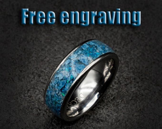 personalized gift, alternative engagement ring, earth stone ring, Healing crystal ring, healing crystals, blue gemstone ring, tungsten ring.