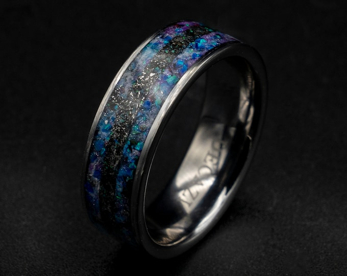 Mens meteorite ring with galaxy opal inlay.