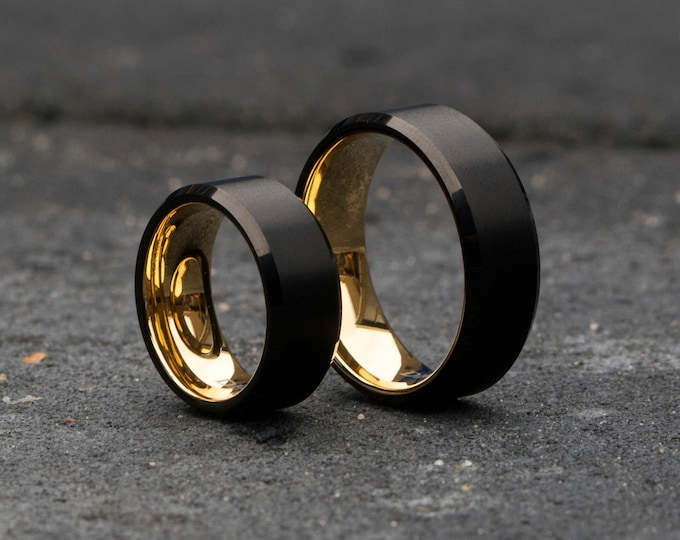 Tungsten wedding ring set. Wedding set. minimalistic wedding ring. simple wedding ring. gunmetal ring. ring set. engagement ring set.