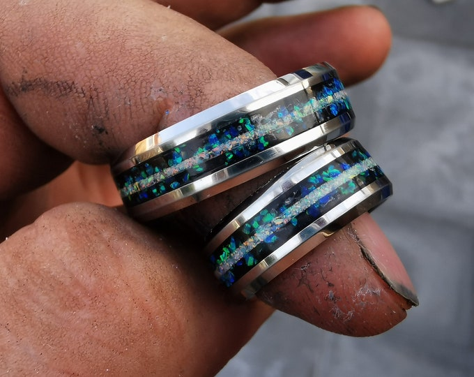 Lunar jewelry, mens wedding band, opal ring, boyfriend gift, tungsten ring, meteorite, meteorite ring, personalized ring.