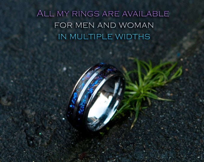 mens opal ring. Galaxy opal. Tungsten ring for men. meteorite opal ring. Hammered. wedding band men. ring with opal inlay