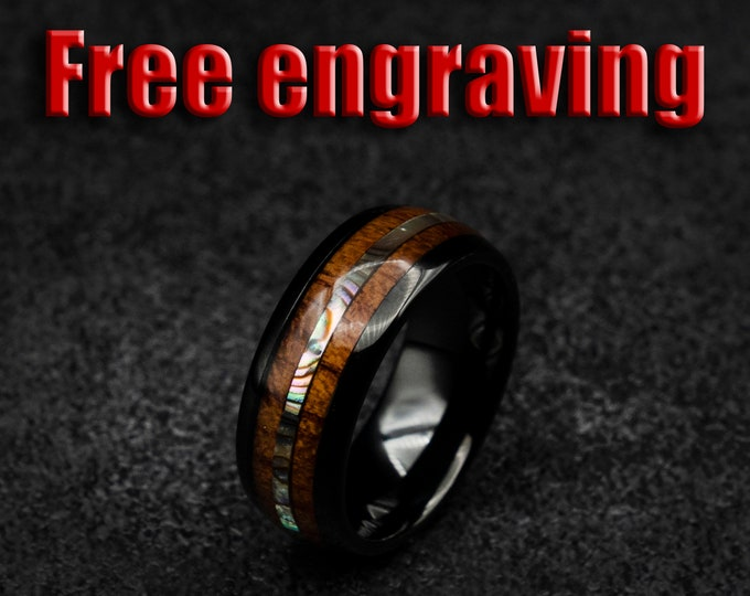 Fast shipping, Black ceramic ring, Koa wood, Abalone shell, mens wedding band, ceramic ring, male engagement ring, decazi mens, ring men.