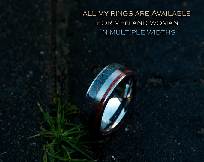 Double tungsten inlay ring with black and red opal.