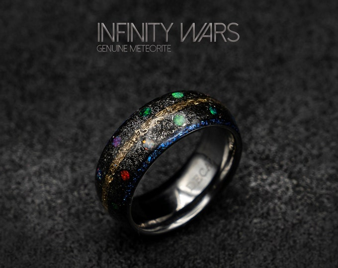 marvel infinity ring, Meteorite ring, Opal ring, tungsten, mens wedding band, Unique mens ring, 8mm ring, Decazi, mens ring, rings for men.