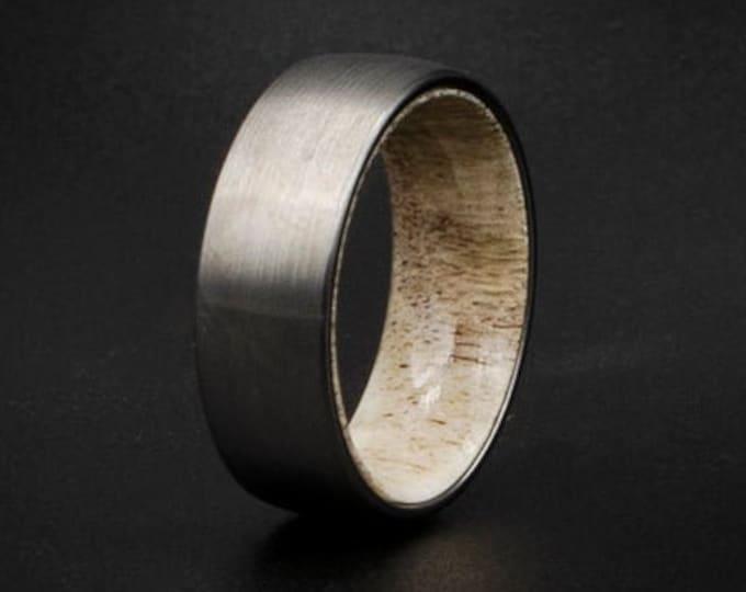 Brushed Tungsten Wedding Band, Deer antler tungsten ring, mens Wedding Band, Unisex Wedding Ring, domed silver ring, 8mm ring