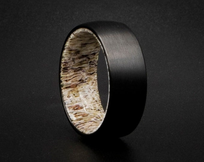 Tungsten Ring with deer antler liner, deer antler ring, Affordable Unique Wedding Band, Affordable Tungsten Band