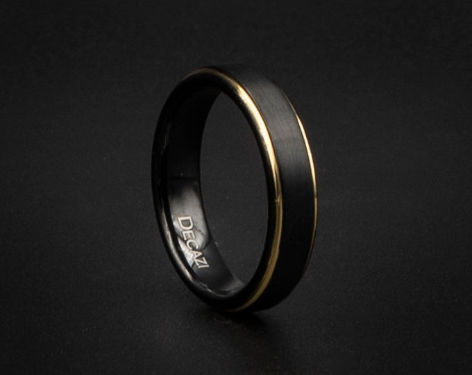 Black Tungsten Wedding Band, Black and Gold Wedding Band, Affordable Wedding Band, Unisex Wedding Ring, cheap ring