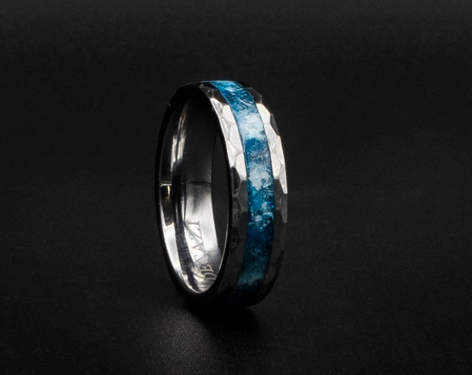 Tungsten ring with blue and white galaxy inlay. hammered tungsten ring. engagement ring.