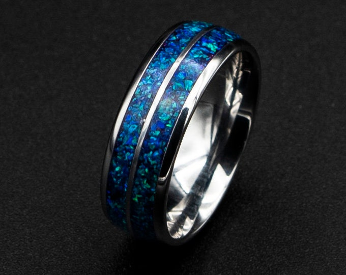 Glowstone tungsten ring. Man opal ring. unique mens ring. Galaxy opal, mens opal ring. crushed opal ring. 8mm ring, domed tungsten ring.