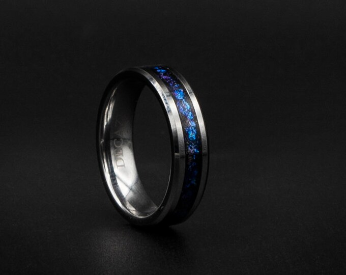 Tungsten ring with Deep blue Galaxy flakes. galaxy ring