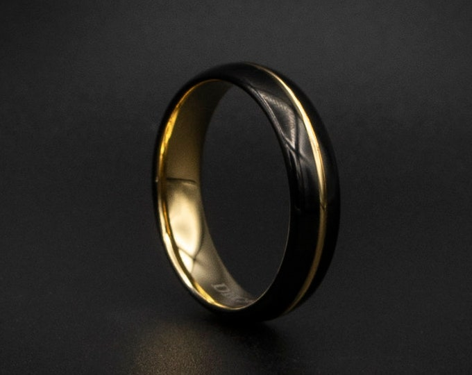 Black Tungsten Wedding Band, Black and Gold Wedding Band, Affordable Wedding Band,  Unisex Wedding Ring