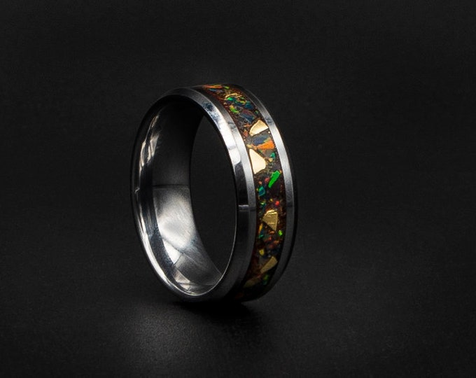 silver Tungsten ring beveled with black base and Real gold. black opal ring.
