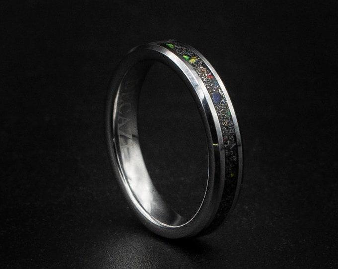Meteorite ring men, mens wedding band, galaxy opal ring, mens ring, wedding band mens, 4mm tungsten ring, stackable ring, simple mens ring