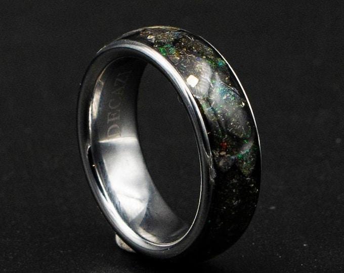 honduras black opal ring, Opal engagement ring, 8mm ring, wedding band mens, mens wedding band, male engagement ring, mens opal ring.