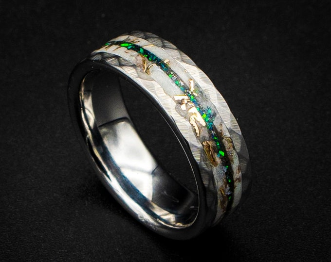 Glow in the dark ring with Mokumse game shavings and green opal.