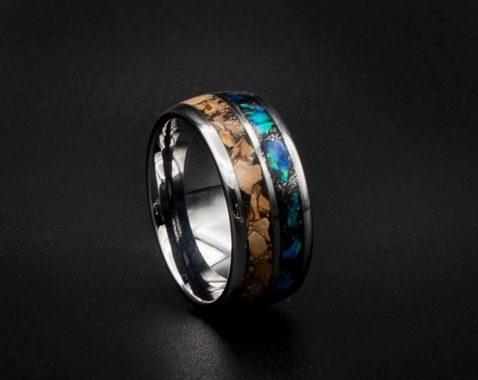 Tungsten ring with Carcharodontosaurus inlay, dinosaur ring, unique mens ring, Opal tungsten ring. Opal ring, meteorite ring