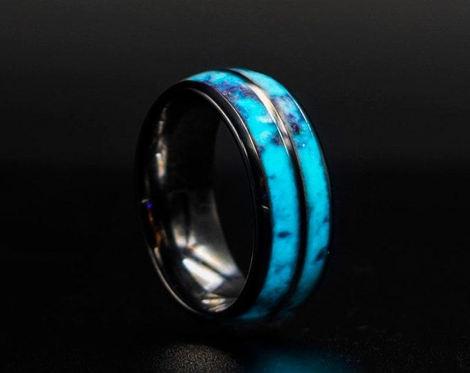 Glow in the dark Double Tungsten Opal Inlay Wedding Band, Unique Wedding Band, Galaxy Glowstone Ring, Unique Galaxy Ring,Custom Wedding Ring