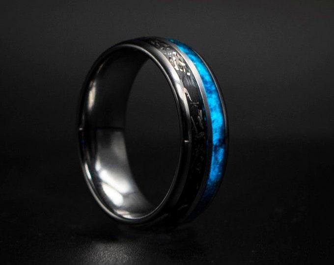 Meteorite Tungsten Ring, Meteorite Ring Men Black, Tungsten Meteorite Ring, Meteorite Wedding Band, Mens Wedding Band Meteorite Wedding Ring