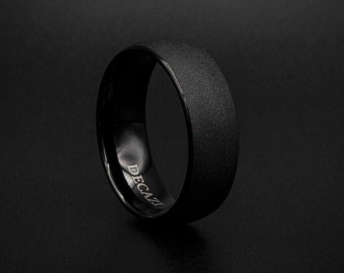 Brushed Black Tungsten Wedding Band, Sandblasted ring, mens wedding band, Black ring, domed ring, mens tungsten wedding band.