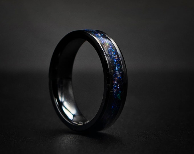 6mm black ceramic Opal Inlay Wedding Band, Unique Wedding Band, Galaxy Glowstone Ring, Unique Galaxy Ring, Custom Wedding Ring6mm