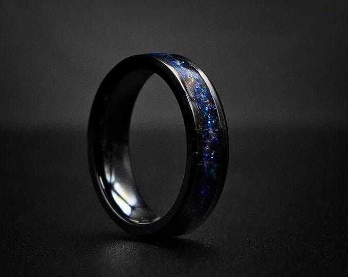 4mm black ceramic Opal Inlay Wedding Band, Unique Wedding Band, Galaxy Glowstone Ring, Unique Galaxy Ring, Custom Wedding Ring 4mm
