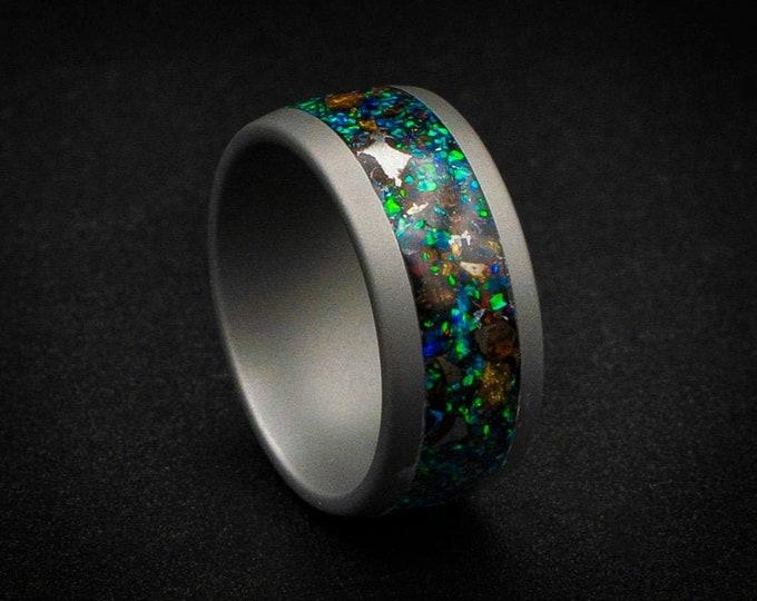 Sandblasted tungsten ring, Pallasite metoerite ring, opal ring, mens wedding band, engagement ring, dinosaurbone ring, fossil ring.